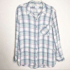 MELROSE and MARKET Plaid Button Down Shirt Top